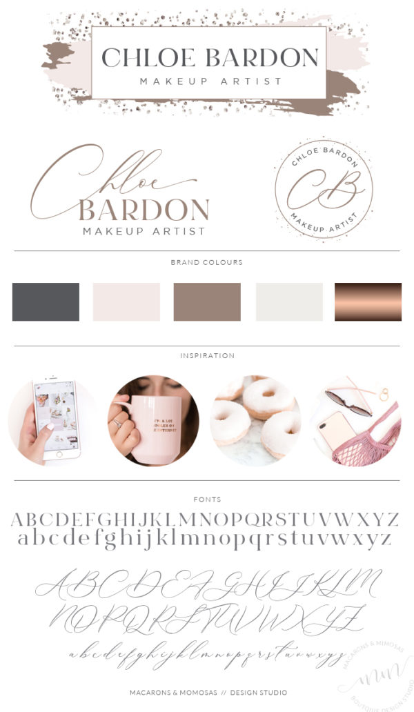 Confetti Watercolor logo design Rose Gold, Pink and Glitter by Macarons and Mimosas