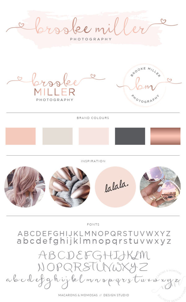 Heart font premade logo design with watercolor by Macarons and Mimosas