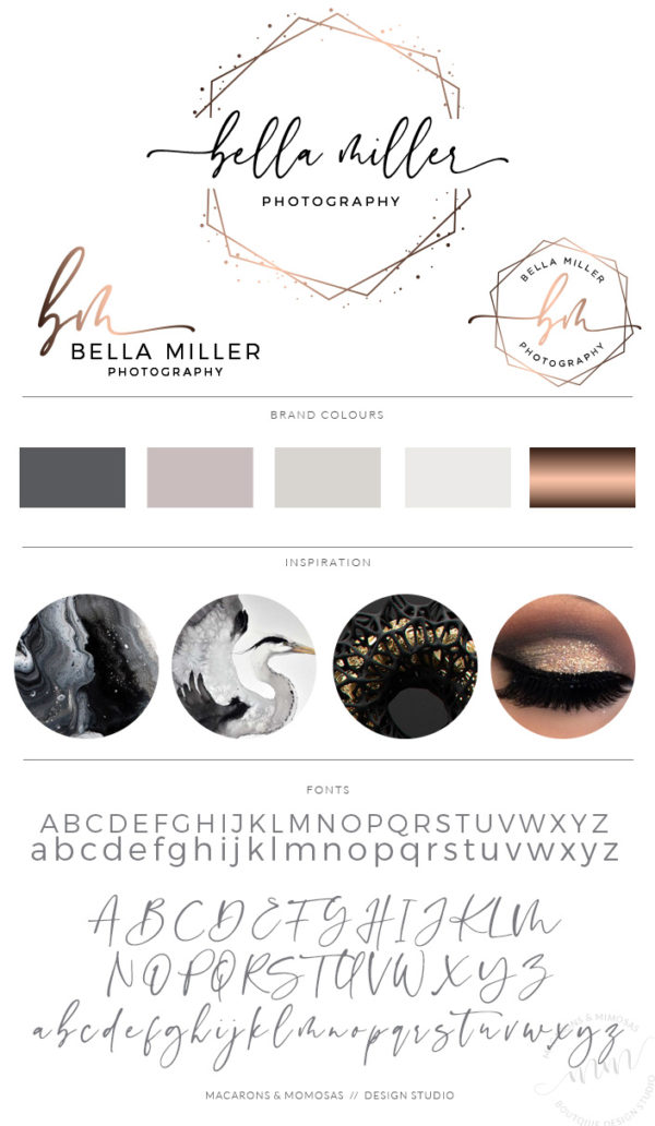 Rose gold hexagon preamde logo design for photography boutique blogger and more by Macarons and Mimosas
