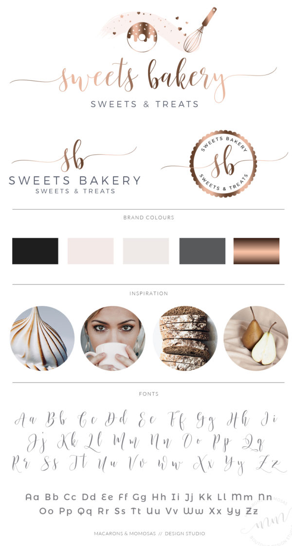 Rose gold Donut Logo Design for Bakery with Sprinkles and Whisk by Macarons and Mimosas