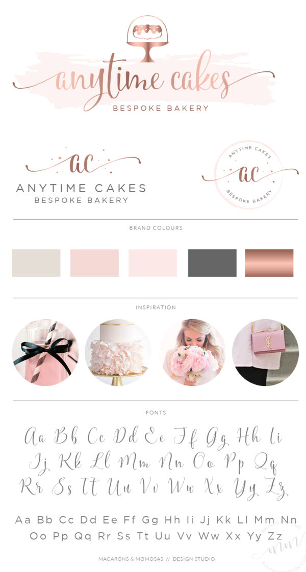 Watercolor Bunt cake logo design branding package from Macarons and Mimosas