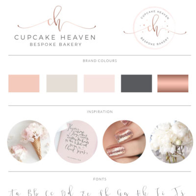 Cupcake Sprinkle Logo with Watercolor background in Rose Gold by Macarons and Mimosas