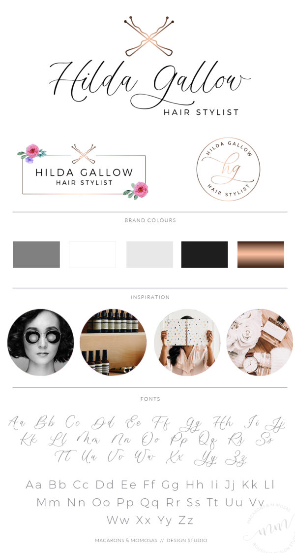 Hair Stylist with Bobby Pin Logo and Branding Board in Rose gold by Macarons and Mimosas