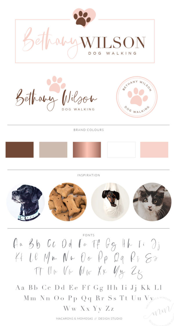 Dog and Cat groomer Logo Design with Paw Print and heart in Vector by Macarons and Mimosas