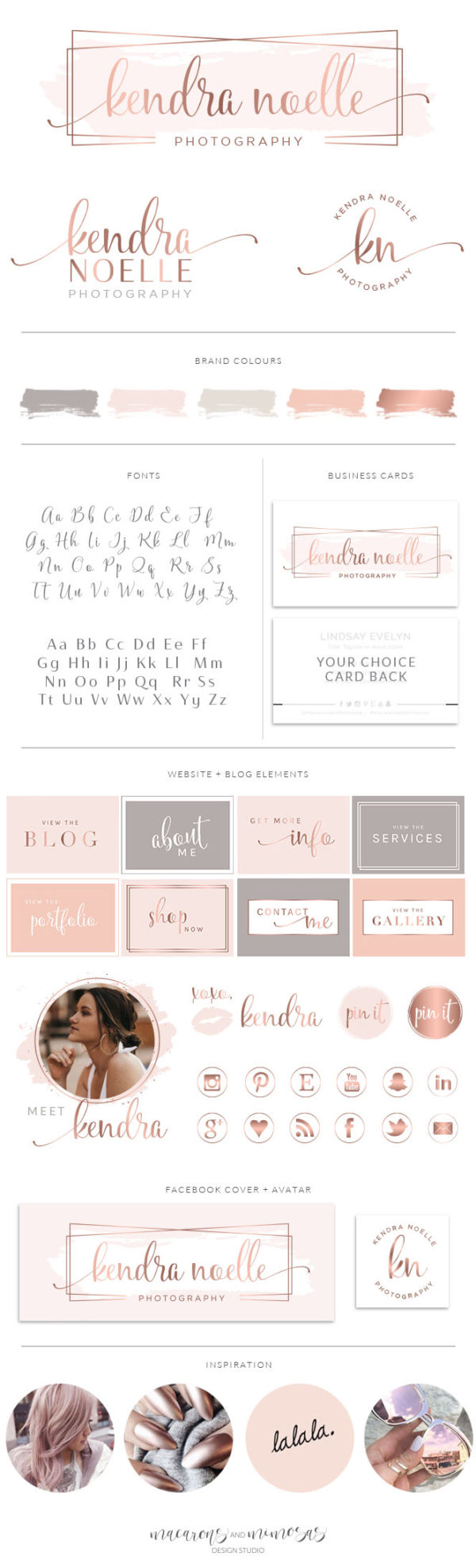 Pink and Rose Gold Watercolor Logo Design with Boarder by Macarons and Mimosas