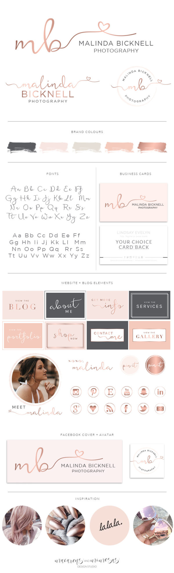 Rose gold Heart Premade Logo with Featherly Script by Macarons and Mimosas