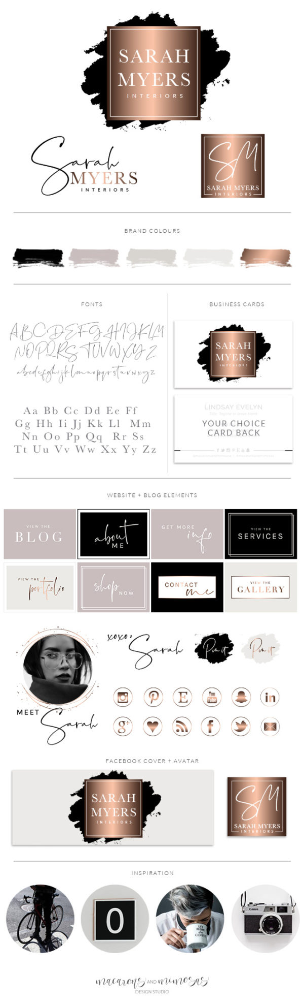 Black and Rose Gold Watercolor Premade Logo Branding Kit by Macarons and Mimosas