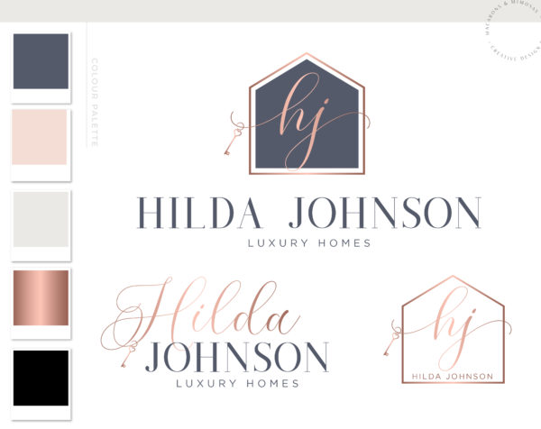 Real Estate Logo, Realtor Logo, House Logo, Key Logo, Gold Logo, Premade Logo, Watermark Logo, Business Logo, Branding Logo, digital logo