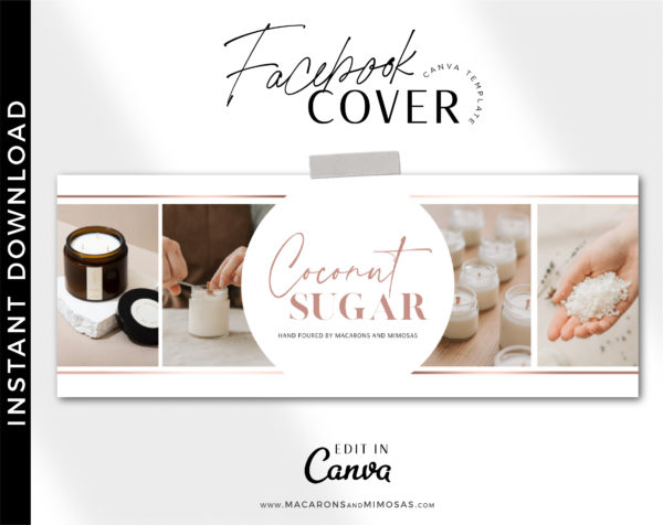 Rose Gold Candle Template Facebook Cover easy to use drag and drop... social media, blog, and website banner editable in Canva.