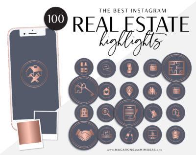 Real Estate Instagram Highlights, Blue Rose Gold Realtor Highlight Icons, Rose Gold Instagram Covers, Real Estate IG Story covers