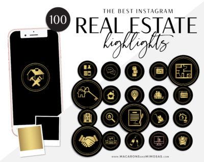Real Estate Instagram Highlights, Black Gold Realtor Highlight Icons, Gold Instagram Covers, Real Estate IG Story covers