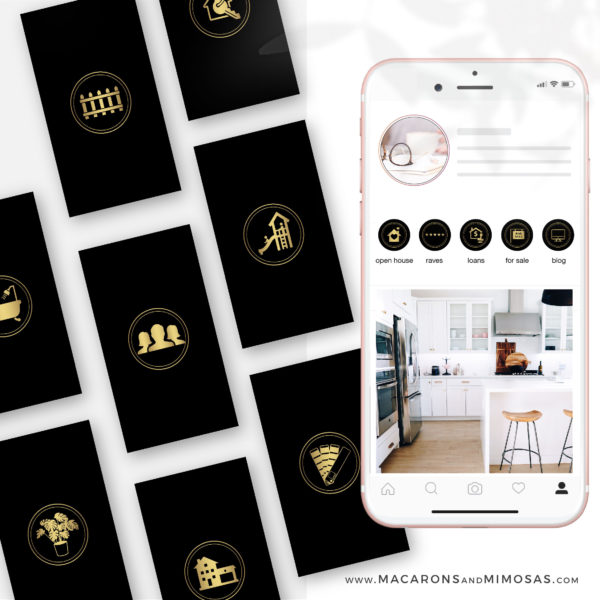 Real Estate Instagram Highlights, Black Gold Realtor Highlight Icons, Gold Instagram Covers, Real Estate IG Story covers