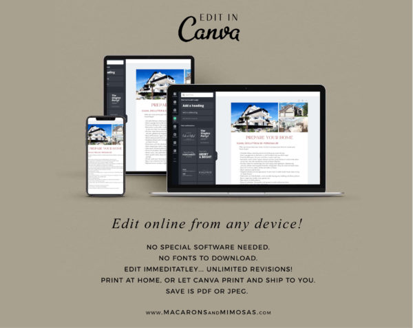 Sellers Guide Template, Real Estate Presentation Marketing Listing for Canva, 11 Page Home Selling Packet Moving and Listing Checklist Guide