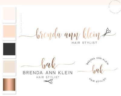 Salon Branding, Hair Logo, Branding kit, Scissors Logo, Logo Design, Premade Logo, Branding Package, Stamp, Salon Logo, Beauty Logo