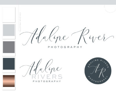 Blue and Rose Gold Premade Logo Design with Calligraphy Font by Macarons and Mimosas