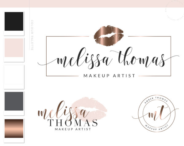 Beauty Logo Design with Rose gold Lips for Artist and Salon by Macarons and Mimosas