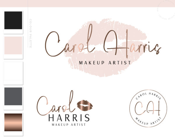 Pink Rose Gold Lips Logo for Beauty Blogger Influencer and Salon by Macarons and Mimosas