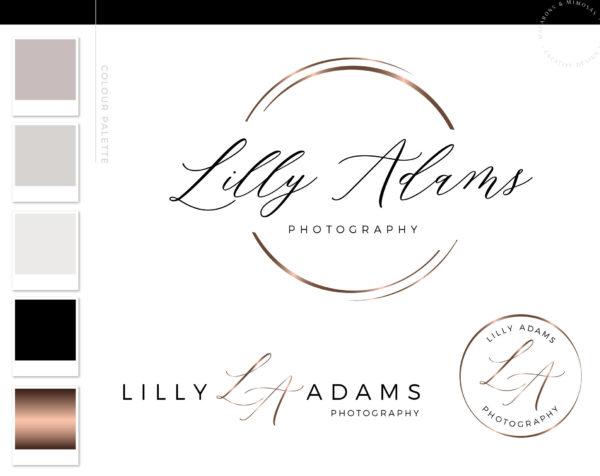 circle logo design, premade logo design photography watermark, round logo, rose gold logo, circle logo transparent, hand script font logo