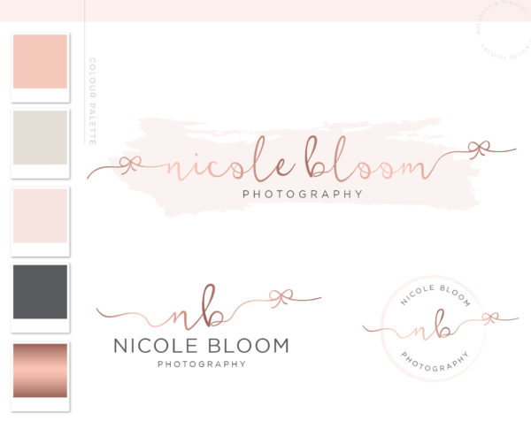 Rose Gold Bow Logo Design for Macarons and Mimosas