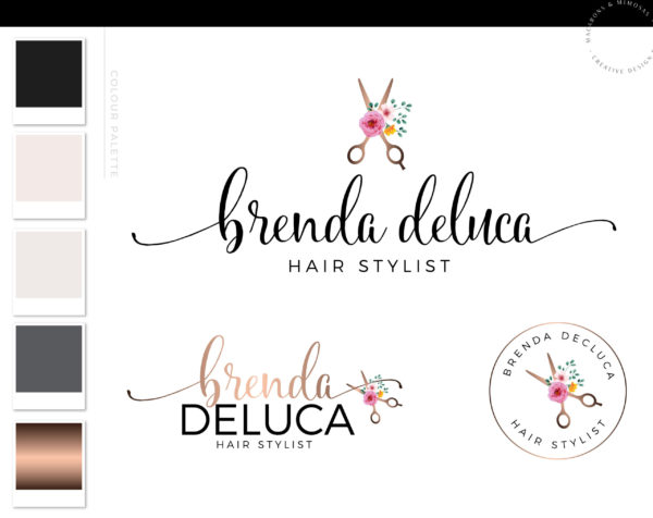 Hairstyle Scissor Logo with flowers for a Beauty or Salon by Macarons and Mimosas