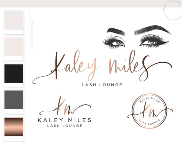 Rose Gold Lash Lounge Logo Design with Watermark for Brow and Lash Artists by Macarons and Mimosas