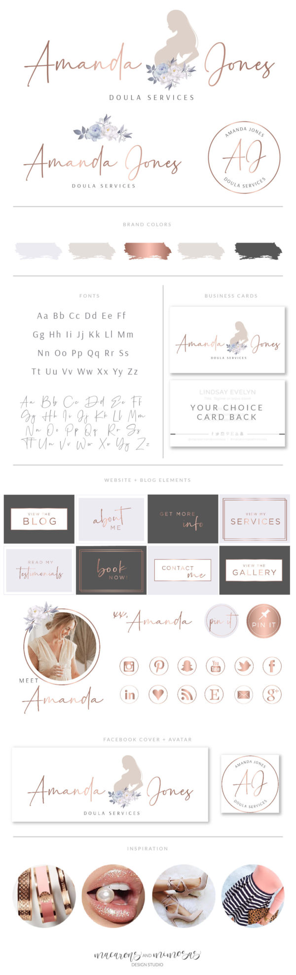 Midwife pregnancy logo, Doula baby birth Logo and Branding, Premade Branding Kit, Newborn Coaching and Maternity Watermark Package