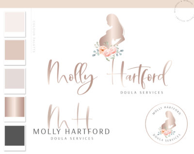 Doula logo, pregnancy baby birth Logo and Branding, Midwife Premade Branding Kit, Newborn Coaching and Maternity Watermark Package