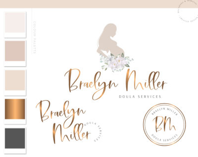 Doula logo, Floral Baby Birth Logo and Branding, Midwife Pregnancy Premade Branding Kit, Newborn Coaching and Maternity Watermark Package