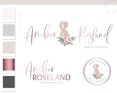 Midwife logo, Floral Baby Birth Logo and Branding, Doula Pregnancy Premade Branding Kit, Newborn Coaching and Maternity Watermark Package