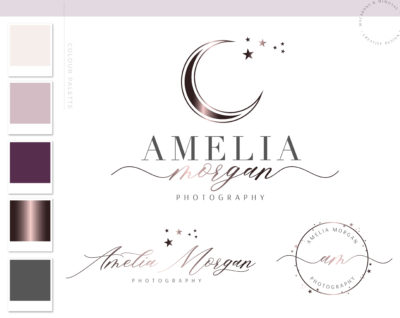 Moon Logo, Star Branding Watermark Photography Logo Design, Modern Feminine Boho Custom Branding Kit Business Card Addon