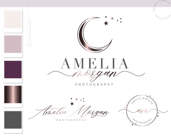 Moon Logo, Star Branding Watermark Photography Logo Design, Modern Feminine Boho Custom Branding Kit Business Card Addon