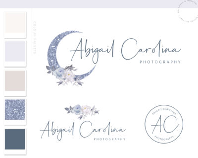 Glitter Moon Logo, Flower Branding Watermark Photography Logo Design, Modern Floral Boho Custom Branding Kit Business Card Addon