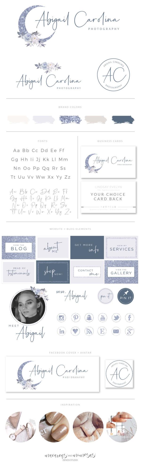 Glitter Moon Logo, Flower Branding Watermark Photography Logo Design, Modern Floral Boho Custom Branding Kit Business Card Addon
