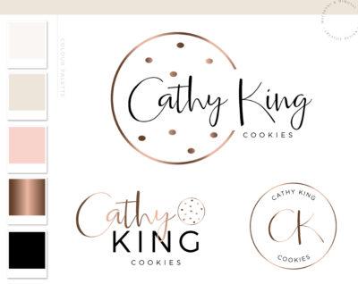 Cookie Logo Design and Branding Kit, Premade Bakery Logo and Brand for Custom Cake Baking in Rose Gold
