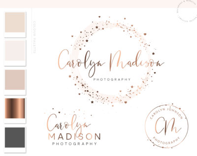 Star Logo Design, Photography Beauty Premade Branding Watermark Kit, Custom Business Branding Package Elegant Creative Watercolor Logo