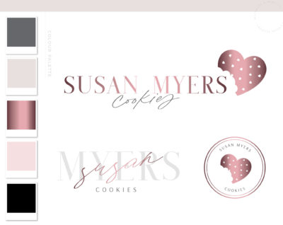 Heart Cookie Logo and Branding Kit, Premade Bakery Logo Design and Brand for Custom Cake Baking and Cooking Blog