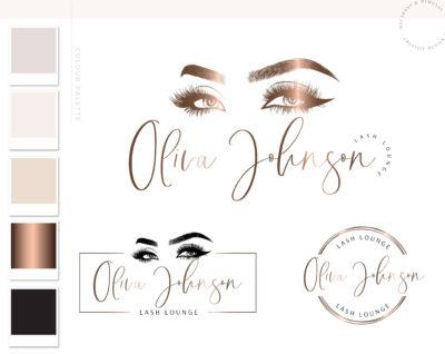 Lash Logo Design for Lash Technician, Eyelash Salon Logo Design for Beauty Artists and Bloggers, Premade Eyelash Logo Template