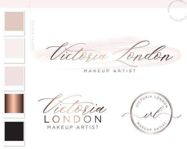 Premade Branding Kit, Photography Logo Set Watermark, Rose Gold Stamp Design, Professional Customized Etsy Shop Logo Package