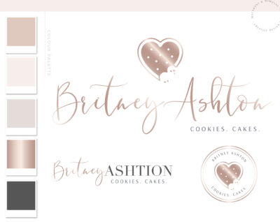 Heart Cookie Logo Premade Branding, Bakery Logo Design with crumbs, Watercolor Logo Artisan Cakes, Food Brand and Watermark
