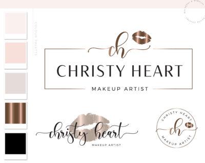 Beauty Logo, Makeup Logo Design, Rose gold Lips Branding kit, Make up Branding Package, Boutique logo, Lips Kit Logo watermark
