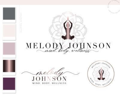 Yoga Logo Branding Design Kit, Mental Wellness Fitness Custom Logo Design, Business Brand Logo, Creative Logo, Modern Logo Creation