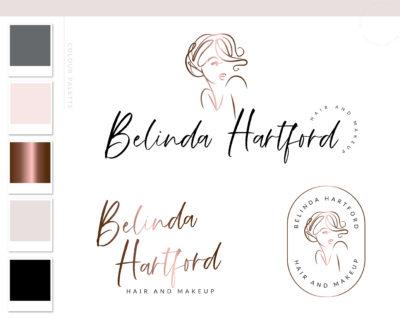 Beauty Logo, Makeup Logo Design, Rose gold Hair Stylist Branding kit, Make up Branding Package, Boutique logo, Hair Salon Kit Logo watermark