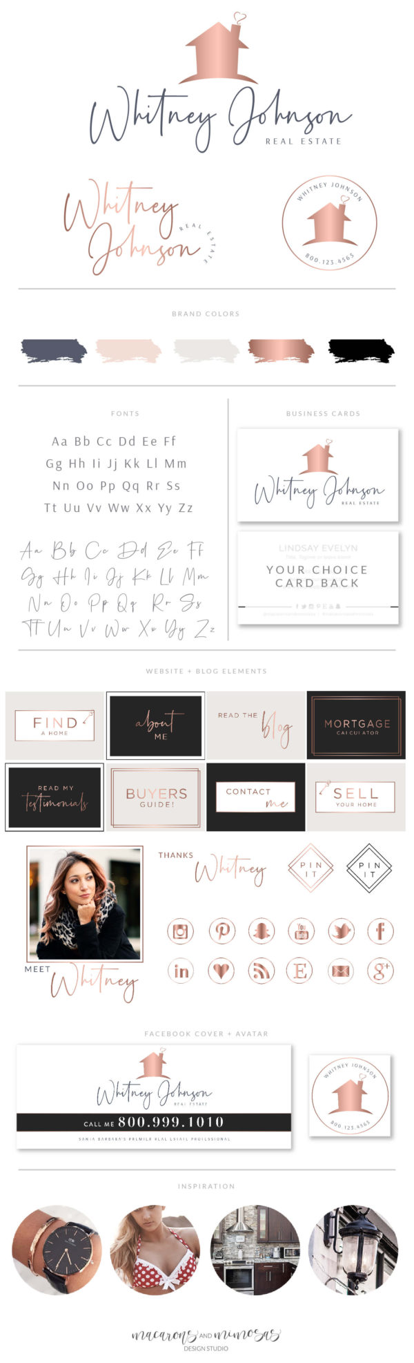 Realty Logo and Branding for Real Estate Agent, Broker Realtor Logo Design, Premade House with Heart business branding kit with watermark