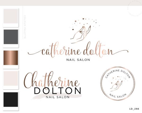 Nail Logo Design for Nail Extension Studio, Premade Modern Nail Artist Beauty Makeup Branding Kit and Logo Watermark