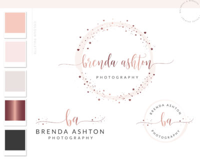 Rose Gold Logo Design, Watermark for Photography, Pink Watercolor Logo Branding Kit, Modern Custom logo maker, Logo Branding Package