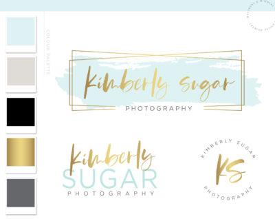 Logo Branding Kit, Premade logo design, Mint Aqua Watermark logo, Photography Logo Watermark, Branding Package, Gold Logo