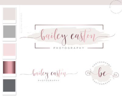 Premade Logo, Rose Gold Photography Logo, Etsy Shop Logo Set, Custom Logo Branding Photographer Watermark Design, Watercolor MUA Logo