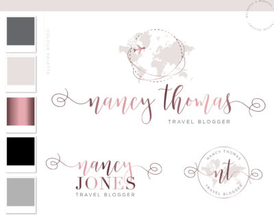 Adventure Logo, Plane Globe Logo Design, Travel Logo Package, Premade Travel Agent Brand Kit, Rose Gold Travel Blog Branding Kit