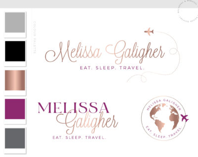 Plane Logo, Travel Agent Logo Design Package, Travel Logo, Premade Adventure Business Brand Kit, Rose Gold Travel Blog Branding Kit