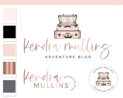 Travel Blog Logo, Pink Striped Suitcase Logo Design Package, Premade Travel Agent Brand Kit, Rose Gold Travel Blogger Branding Kit